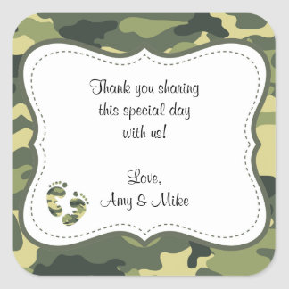 Green Camouflage Baby Shower Favor Label w/feet Square Sticker