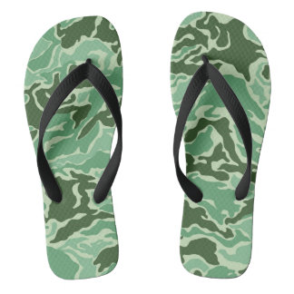 Green Camouflage Camo Flip Flops