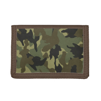 Green Camouflage Camo Trifold Nylon Mens Wallet