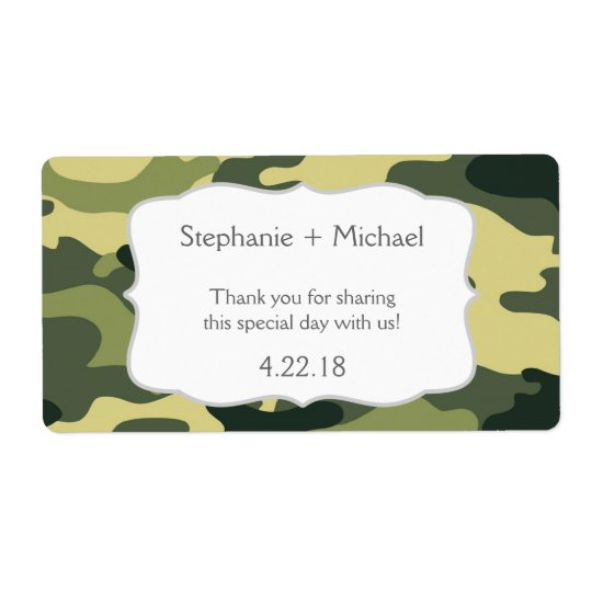 Green Camouflage Camo Water Bottle Favour Shipping Label