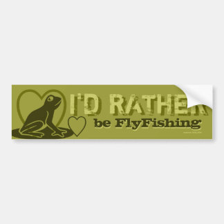 """Green Camouflage """"I'd Rather Be Fly Fishing"""" Bumper Sticker"""