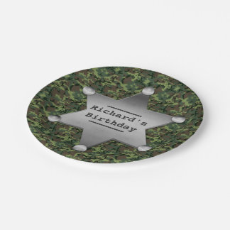 Green Camouflage Pattern Sheriff Badge Birthday Paper Plate