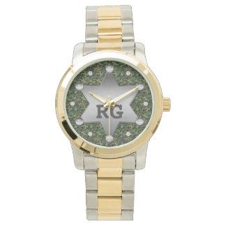 Green Camouflage Pattern Sheriff Badge Monogram Watch