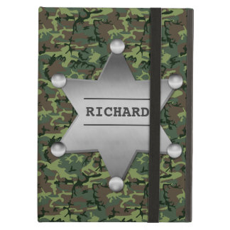Green Camouflage Pattern Sheriff Name Badge Case For iPad Air
