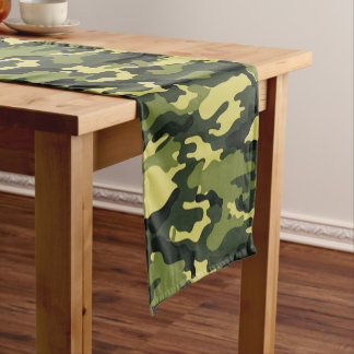 Green Camouflage Pattern Short Table Runner