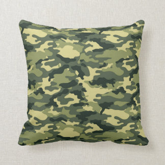 Green Camouflage Pattern Throw Pillow