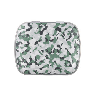 Green camouflage pattern tin