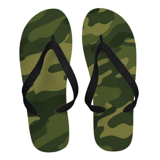 Green Camouflage Print Flip-Flops