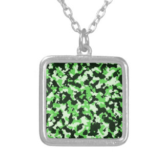 Green Camouflage Silver Plated Necklace