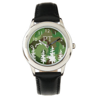 Green camouflage with forest and wildlife monogram watch