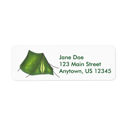 Green Camping Camp Campground Tent Labels