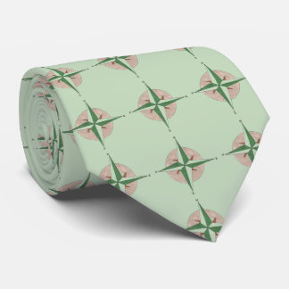 Green Camping Hiking Summer Camp Compass Tie