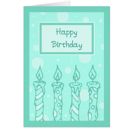 Green Candles Happy Birthday Card