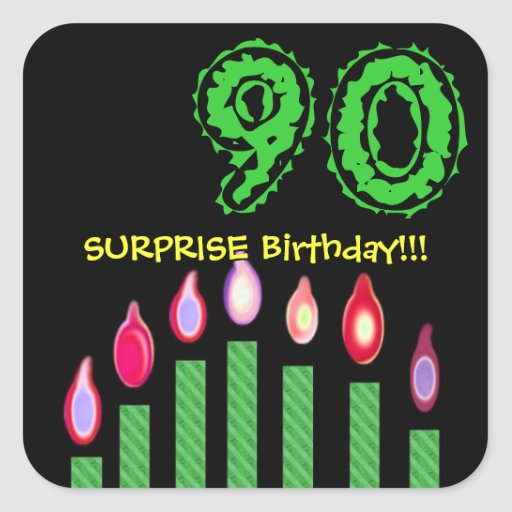 Green Candles SURPRISE 90th Birthday Party V2 Square