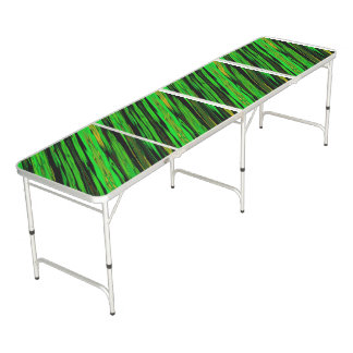 Green Candy Stripe Beer Pong Table