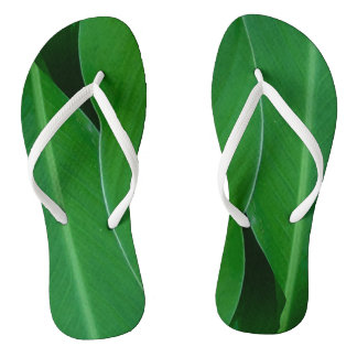 Green canna lily leaves photo flip flops