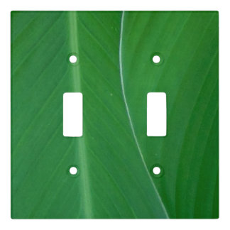 Green canna lily leaves photo light switch cover