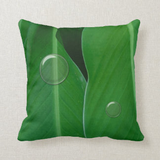 Green canna lily leaves photo throw pillow