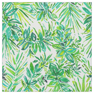 GREEN CANOPY Tropical Jungle Leaves Pattern Fabric