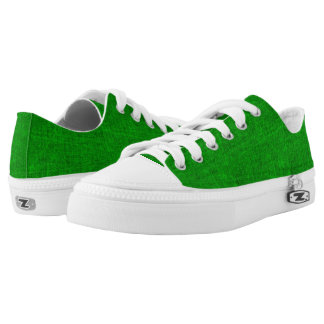 Green Canvas Texture Low-Top Sneakers