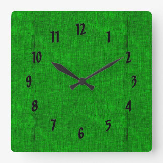 Green Canvas Texture Square Wall Clock