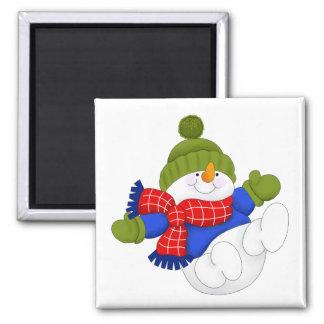 Green Cap Snowman Magnet
