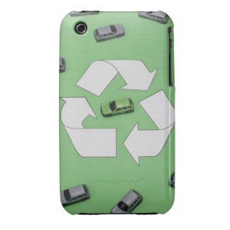 Green car surrounded by grey cars iPhone 3 case