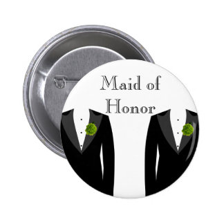 Green Carnation Gay Wedding Maid of Honor Badge 2 Inch Round Button