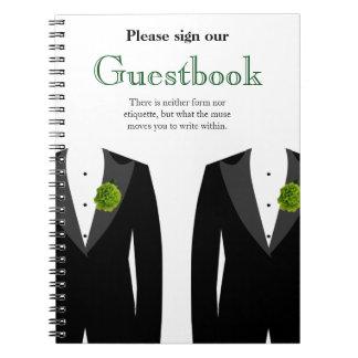 Green Carnation Guestbook for Gay Wedding Guests Notebooks