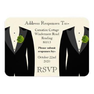 "Green Carnation RSVP for a Gay Wedding 3.5"" X 5"" Invitation Card"