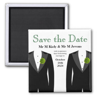Green Carnation Save The Date Magnet Gay Wedding