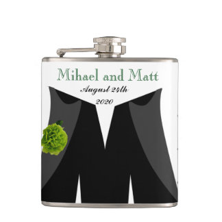 Green Carnation Wedding Hipflask for Gay Grooms Hip Flask
