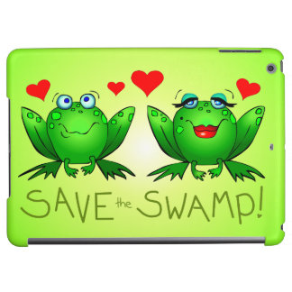 Green Cartoon Frogs Wetland Awareness Conservation iPad Air Covers