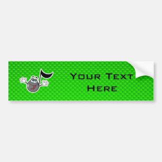 Green Cartoon Music Note Car Bumper Sticker