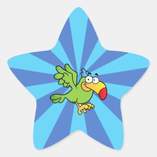 Green Cartoon Parrot Star Stickers