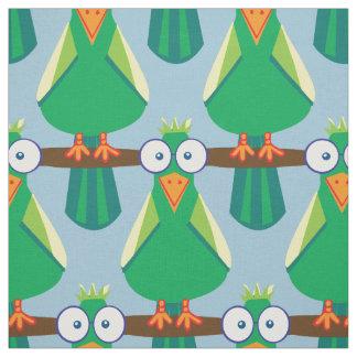 Green cartoon parrots fabric