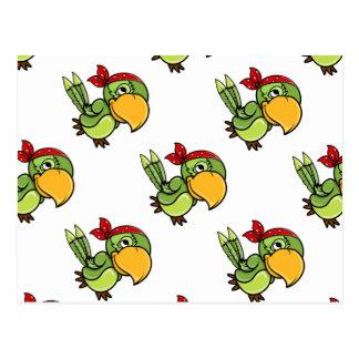 Green Cartoon Pirate Parrot Post Card