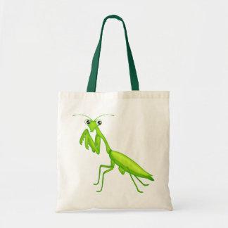 Green Cartoon Praying Mantis Canvas Tote Bag