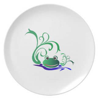 Green Cartoon Smiling Frog Face over water Plate