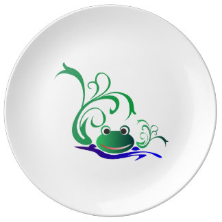 Green Cartoon Smiling Frog Face over water Porcelain Plate