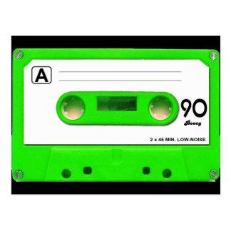Green Cassette Tape Postcard