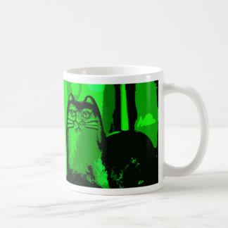 GREEN CAT 2 BASIC WHITE MUG