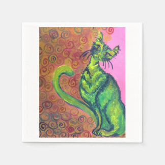 green cat on pink napkin paper napkins
