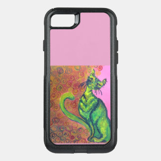 green cat on pink phone case
