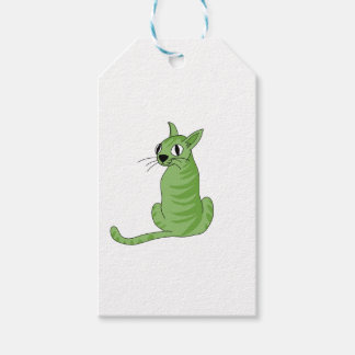 Green cat pack of gift tags