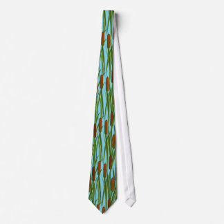 Green Cat Tails Floral Pattern Tie