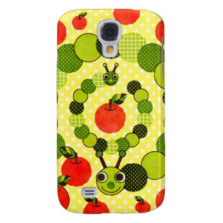 Green caterpillar and apple (Apple and