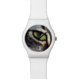 Green Cats Eye, Ladies White Watch