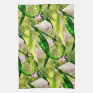 Green Cayenne Peppers, Lavender Swan River Daisies Towel