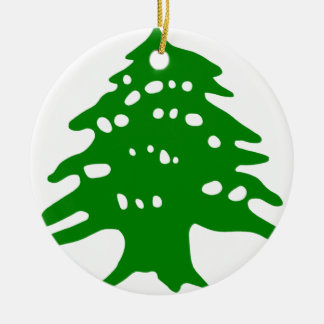 Green Cedar / Lebanon Cedar Round Ceramic Ornament
